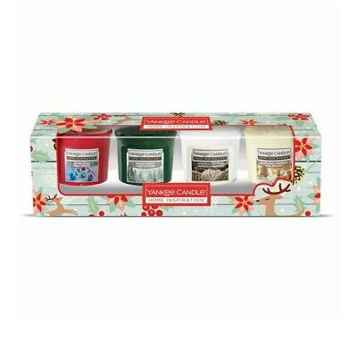Yankee Candle Votive Home Inspiration Collection Christmas Present Gift Set Of 4 • 8.99£