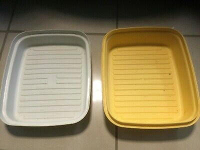 Vintage Yellow & Cream Tupperware Storage Box Tub Container With Lid • 9.99£