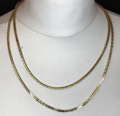 """Vintage Gold Tone Possibly Gold Plated Flat Link Snake Chain Necklace 40"""" Approx • 14.99£"""