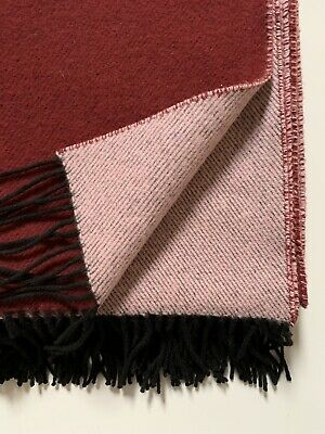 15% Cashmere 85% Lambswool Throw / Blanket / Rug Maroon With Black Tassels BNWT • 54.99£