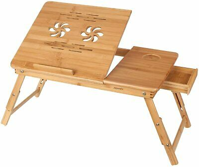 Bamboo Laptop Adjustable Folding Radiating Table 4 Level Bed Tray + Draw & Fan • 15.99£