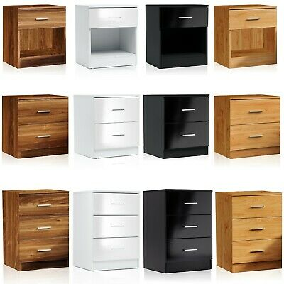 Modern Bedside Table Cabinet 1 2 3 Chest Of Drawers Nightstand Bedroom Furniture • 18.99£