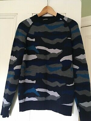 WHISTLES 100% Wool Camouflage Jumper Sweater Size S • 48£