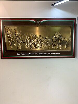 $ CDN145.56 • Buy VINTAGE 1976 Los Famosos Caballos Clydesdale De Budweiser Bar Sign Spanish