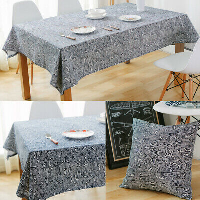 AU12.95 • Buy Rectangle Cotton Linen Tablecloth Wave Table Cloth Cover Kitchen Dining Decor