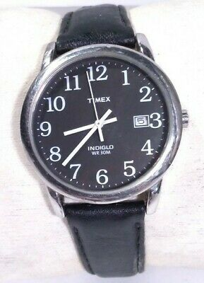 Men Timex Easy Reader Watch Indiglo Silver Case Black Face Leather Band Date Ind • 18.05£