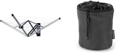 Brabantia WallFix Retractable Washing Line With Fabric Cover, 24 M - Silver & - • 122.87£