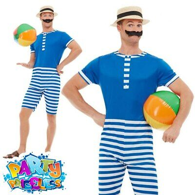£20.99 • Buy Mens 1920s Bathing Suit Costume Beach Victorian Stag Do Adult Fancy Dress Outfit