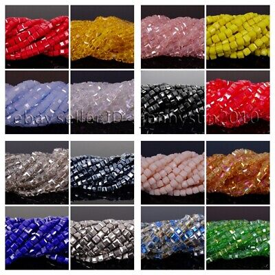 $ CDN3.60 • Buy 100 Pcs Top Quality Czech Crystal Faceted Square Cube Loose Spacer Beads 4mm 6mm