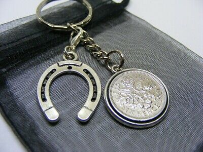 1961 Lucky Sixpence & Lucky Horseshoe Charm Keyring - 60th Birthday Gift (SK00) • 5.95£