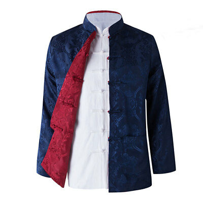 $57.99 • Buy Two Sided Traditional Chinese Clothes Men Tang Suit Top Silk Print Jacket Coat