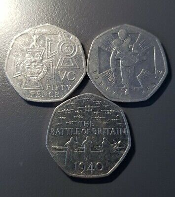 Fifty Pence 50p WWar Coins Wounded Soldier, Battle Of Britain And Victoria Cross • 2£
