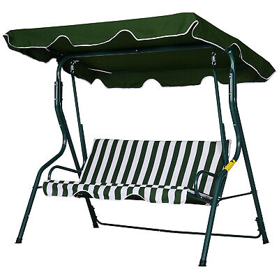 £89.99 • Buy Outsunny Garden Outdoor 3-Person Metal Porch Swing Chair Bench W/ Canopy Green