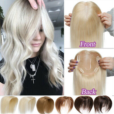 £53.18 • Buy Free Part 100% Human Hair Top Toupee Topper Piece Clip In Silk Base Hairpiece UK