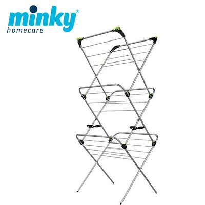 Minky 3 Tier Trio Plus 21m Indoor Clothes Airer Dryer With Flip Outs - Silver • 24.49£