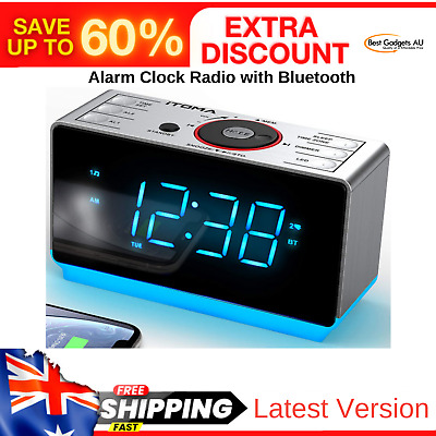 AU52.92 • Buy Clock Radio Dual Alarm Bluetooth Dimmer Control Snooze Sleep Timer USB Charging