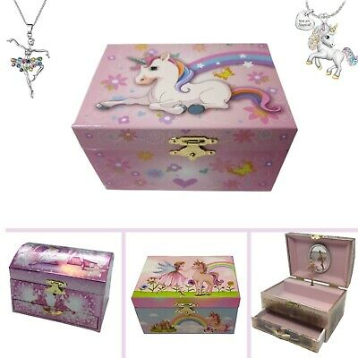 AU39.90 • Buy Girls Musical Jewellery Box, Ballerina Or Unicorn With Necklace. Great Gift Idea