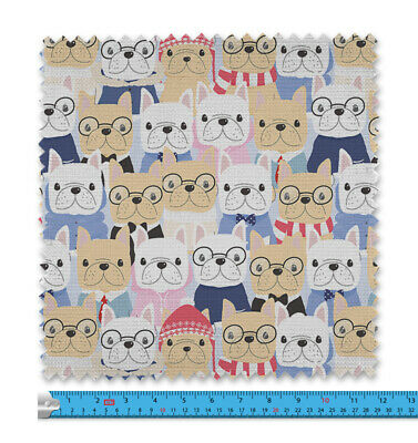 Cute French Bulldogs Fabric 21 Variations Price Per Metre LSFABRIC028 • 11.99£