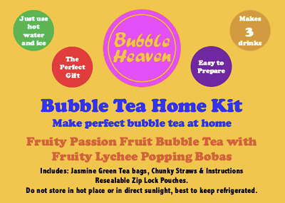 Bubble Heaven Fruity Passion Fruit Bubble Tea With Lychee Popping Bobas • 8.99£