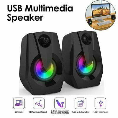 £12.99 • Buy Surround Sound System LED PC Speakers Gaming Bass USB Wired For Desktop Computer
