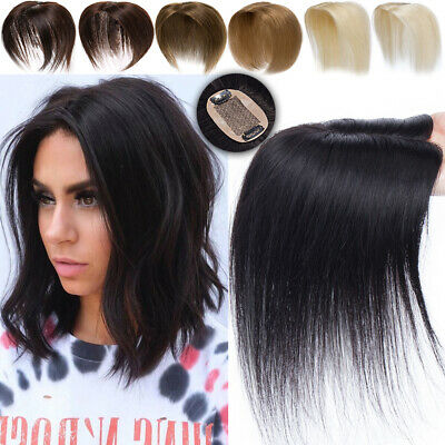 £30.73 • Buy Natural 100% Human Hair Topper Piece Clip In Silk Base Top Toupee 4-20  Brown UK