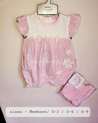 Baby Girl Clothes Spanish Romany Style Romper Outfit Hat  Pink  • 8£