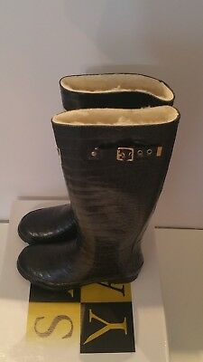 SALE! BNIB Lined In Genuine Sheepskin Black Mock Croc Ladies' Welly Boots Size 5 • 29.50£