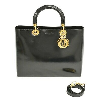 Christian Dior Lady Dior GM Leather 2way Shoulder Hand Tote Bag Black Gold Italy • 695.13£