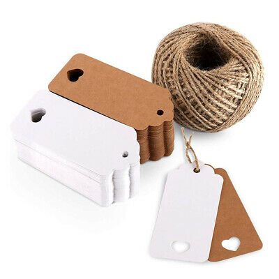 50 100 Kraft Paper Gift Tags Scallop Card Label Luggage Christmas Wedding Decor • 4.09£