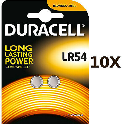 AU20.95 • Buy 10X Pack Of 2 Duracell LR54 1.5V Alkaline Battery 189 V10GA GP189 L1131 LR1130