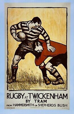 £4.99 • Buy VINTAGE RUGBY AT TWICKENHAM BY TRAM TRAVEL Print Poster Wall Art Picture A4 +