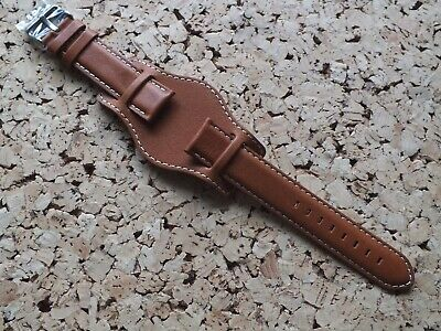 Men's Genuine Leather Bund Style Military Watch Strap Brushed Steel Buckle 20mm • 10.99£