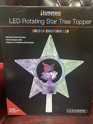 LED Rotating Christmas Tree Star Topper Ornament Lights Multicolours • 7.25£