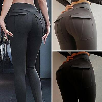 Women Sports Push Up Scrunch Yoga Pants Leggings With Pocket Fitness Gym Workout • 6.28£