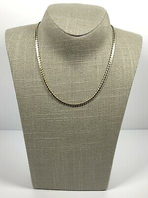 Vintage Necklace Gold Tone Flat Lay Snake Chain Collar Length Pretty Costume  • 9.99£