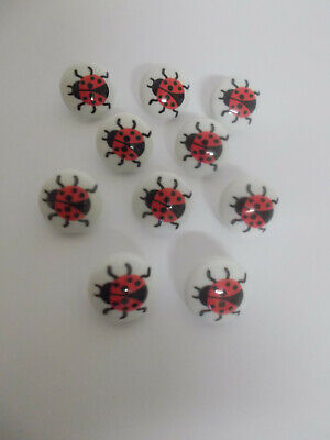 6 X Ladybird Picture Buttons White With Ladybird Picture 15mm Shank Buttons  • 1.60£