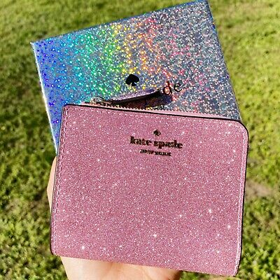 $ CDN82.89 • Buy Kate Spade Lola Glitter Boxed Small L-Zip Bifold Wallet Rose Pink Gift Box