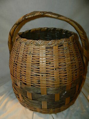 £18.10 • Buy Vintage Oval Straw Wicker Basket With Handle Egg Shaped