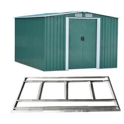 Large 10 X 8FT Metal Garden Storage Shed Apex Roof Outdoor Storage W/ FOUNDATION • 399.99£