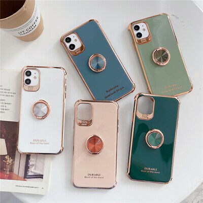 AU6.33 • Buy Case For IPhone 12 Pro Max 11 XS X 8 7 Plus Glossy Plating Ring Stand Soft Cover