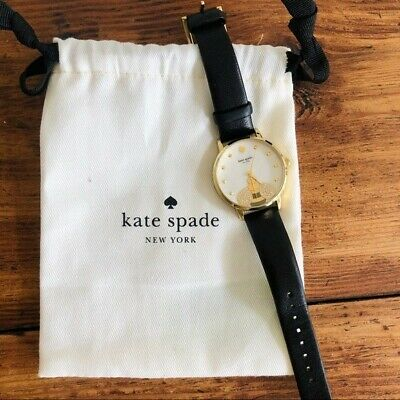 $ CDN121.21 • Buy Kate Spade Metro Bee Bumblebee Watch *Retired* Black Leather Band Gold Accents