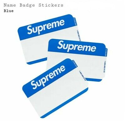 $ CDN31.57 • Buy Supreme Name Badge Stickers (Pack Of 25) - BLUE - In Hand