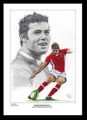 £13 • Buy LEIGH HALFPENNY: WALES RUGBY -  FINE ART PRINT Signed By Artist