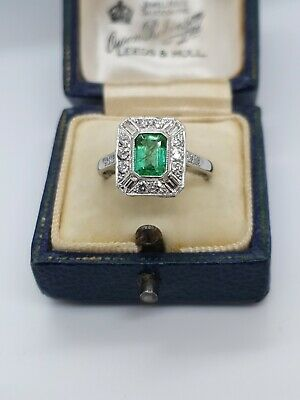 PLATINUM EMERALD & DIAMOND Art Deco Style Ring • 1,295£