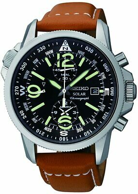 $ CDN550.67 • Buy SEIKO Wristwatch SSC081 Solar Military Pilot Chronograph Analog Leather NEW