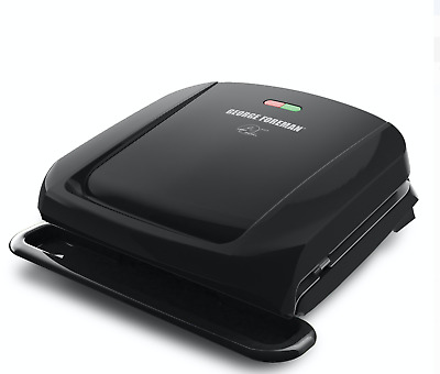 George Foreman 4-Serving Removable Plate Electric Grill And Panini Press, Black, • 38.21£