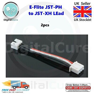 £6.90 • Buy 2pcs E-Flite Blade 130x UMX JST-PH To 2S JST-XH Lipo Charger Lead Adapter