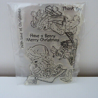 Clear Craft Stamps Christmas Teddy Bear Set Of 6, Unused • 1.99£