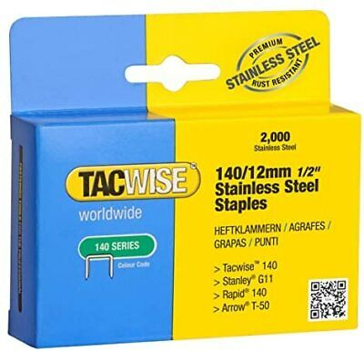 Tacwise 140/12mm Stainless Steel Staples (Box Of 2000) • 10.81£