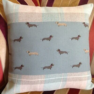 """£15 • Buy SOPHIE ALLPORT 'Dachshund' Cushion Cover 16"""" Sausage Dog Grey Check Wool Country"""